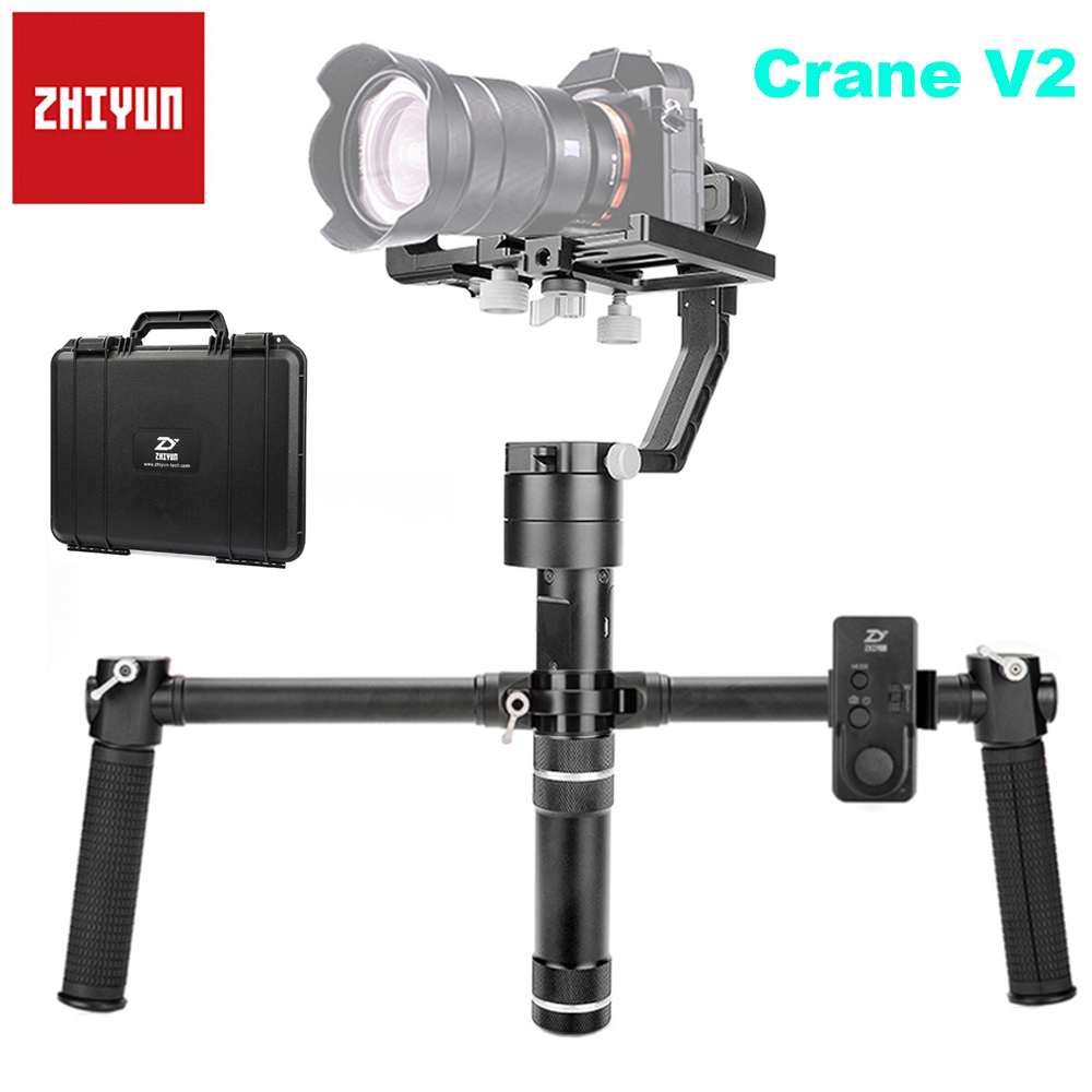 Zhiyun Crane V2 3-Axis Brushless Handheld Gimbal Stabilizer Remote Handheld Grip Support 350g-1800g for Sony Mirrorless Camera zhiyun crane v2 3 axis handheld gimbal stabilizer brushless motors for mirrorless camera with zw b02 remote dual handheld grip