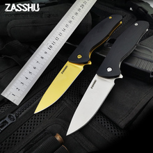 ZASSHU 58-60HRC 440C G10   High hardness blade wood handle camping knife Folding knife Survival  Knives  tool Tactical Knives 60hrc hardness hunting knife fixed teflon coating d2 blade tactical knife g10 handle camping survival knives outdoor tools t01