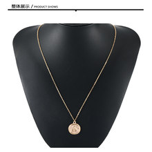 GERUISHA2019 Gold Alloy Round Pendant Necklace for Women Simple Female Long Chain Coin Necklace Rose Flower(China)