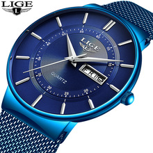 LIGE Men's Watches Luxury Brand Watch Men Fashion Sports Quartz Watch Stainless Steel Mesh Strap Ultra Thin Dial Date Blue Clock