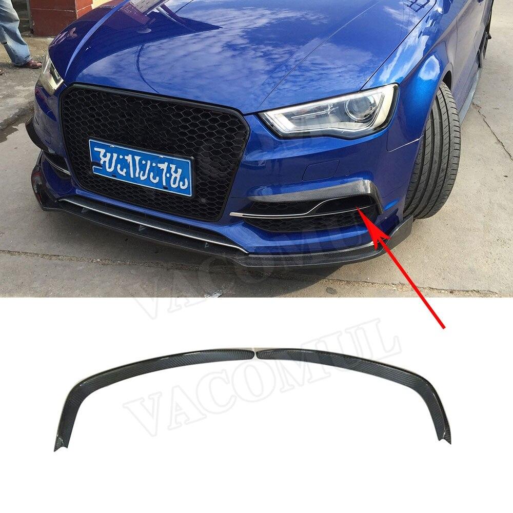 Carbon Fiber Front Fog Light Splitter Cover Frame Trims for Audi A3 S3 2013-2016 Car Styling not Hatchback or SportbackCarbon Fiber Front Fog Light Splitter Cover Frame Trims for Audi A3 S3 2013-2016 Car Styling not Hatchback or Sportback