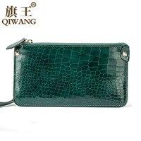 QIWANG Slim Women Wallet Green Crocodile Cow Leather Wallets Clutch Bag Purse Fashion Long Waist Hand Phone Wallet