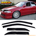 For 92-95 Honda Civic 4 Door Sun Window Visor Dark Smoke 1.6MM Slim Style 4Pcs
