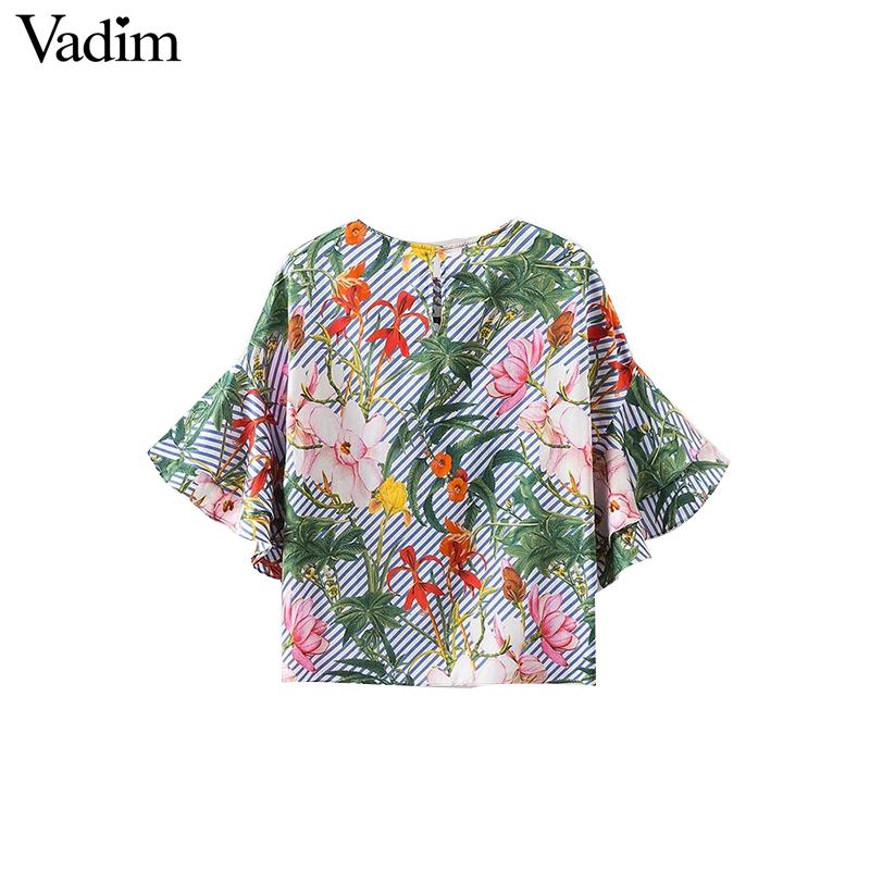HTB1cce0QFXXXXXWaXXXq6xXFXXX3 - Women sweet ruffles loose floral shirts short sleeve