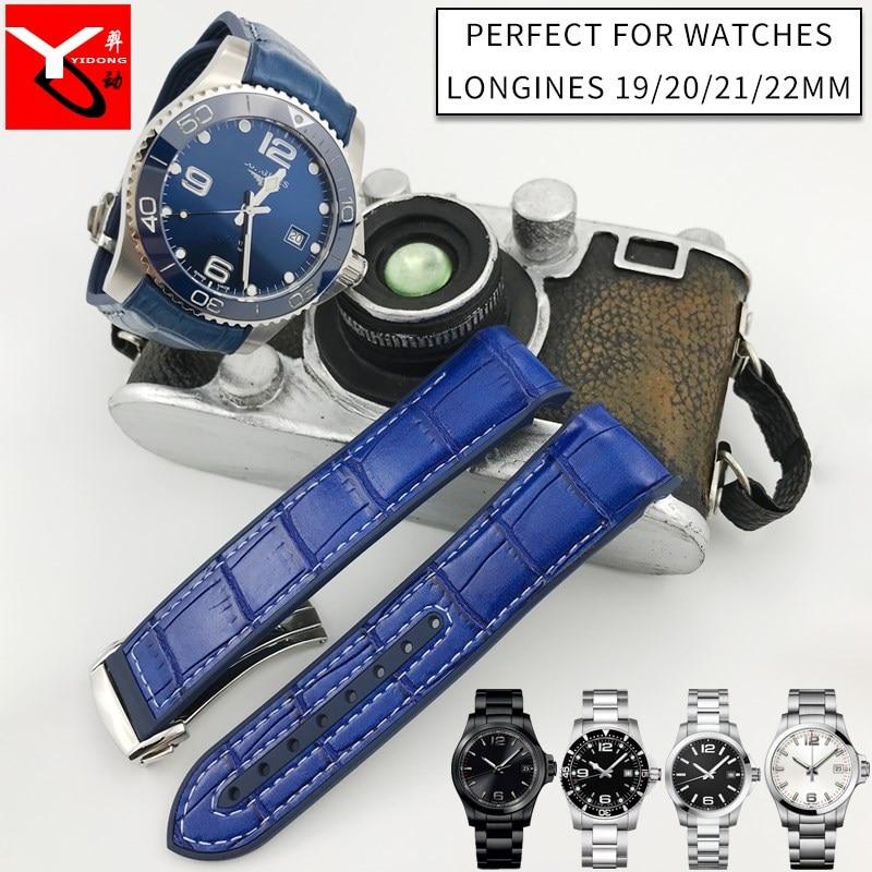 19 мм 20 мм 21 мм 22 мм поверхность нейлоновая поверхность кожаный нижний силиконовый ремешок для часов Складная Пряжка ремешок подходит для Longines часы