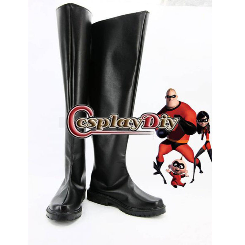 The Incredibles Black Male Superhero Boots Men's Cosplay Shoes Custom Made