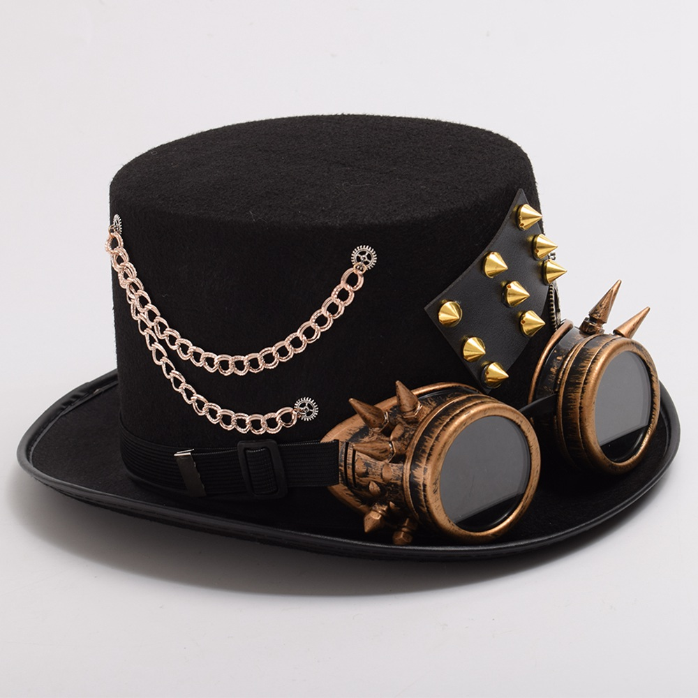 Gothic Vintage Men Woman Steam Punk Hat Gear Rivet Glasses Top Hat Punk Unisex Party Black Fedora