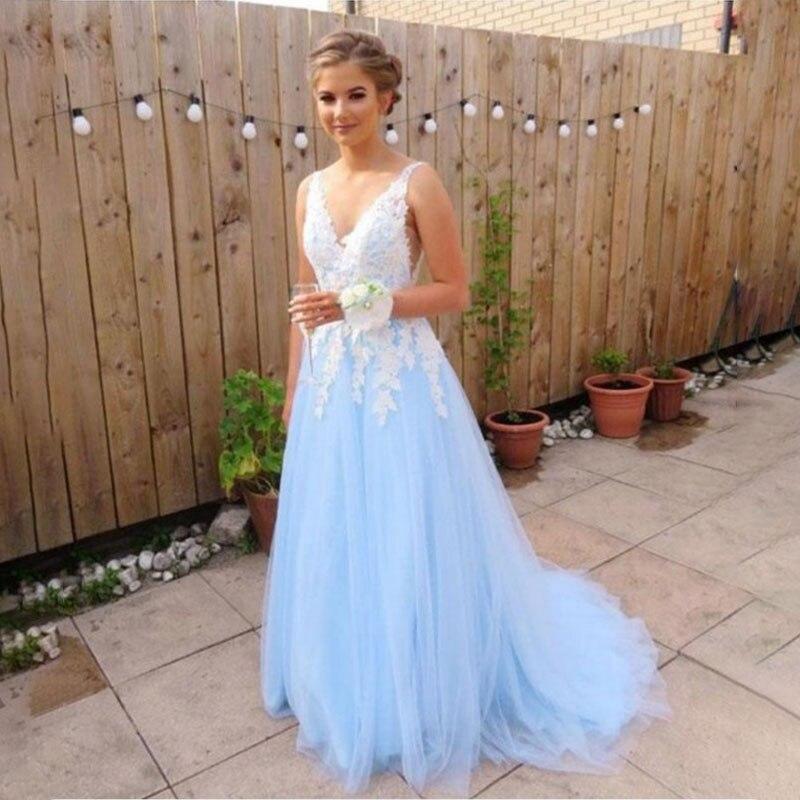 A Line V Neck Long   Prom     Dress   Lace Applique Illusion V Back Light Sky Blue Formal Evening Party   Dress   2019 Vestido De Fiesta