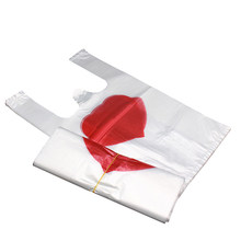 100 Pcs Plastic Love Heart Vest Bags Retail Supermarket Grocery Shopping Bag With Handle Transparent Fruit Packaging Bag 20*32cm(China)