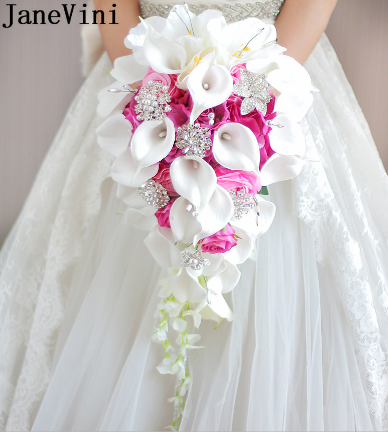 JaneVini 2019 Waterfall Wedding Bouquets Bridal Flowers With Pearls Crystal Rose Red Beaded Artificial Bride Bouquet Handle Pink