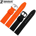New style silicon rubber orange |black  man woman strap watch waterproof soft rubber watch accessories 20|22|24mm free shipping