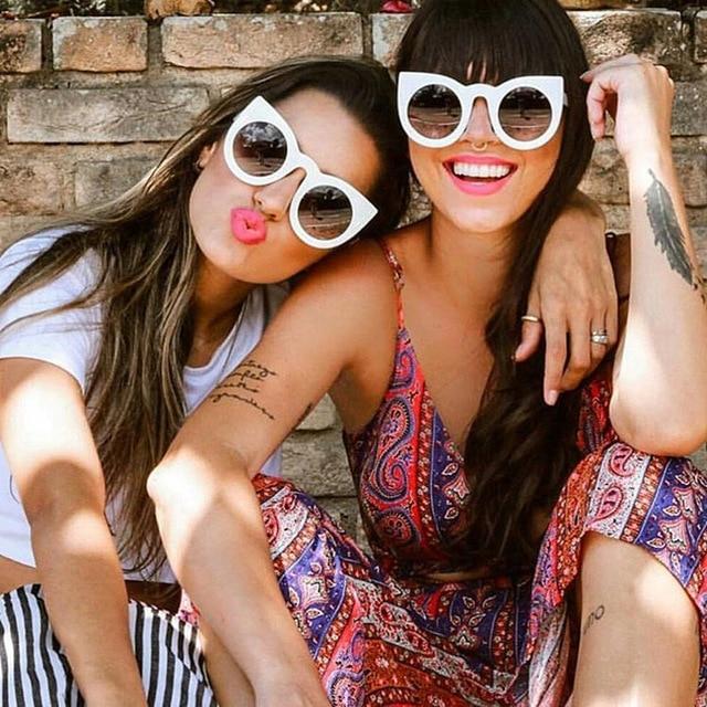 Justrue new trends 2017 cat eye sunglasses mulheres marca projeto retro vintage gradiente óculos de sol frescos tons cateye da senhora do sexo feminino