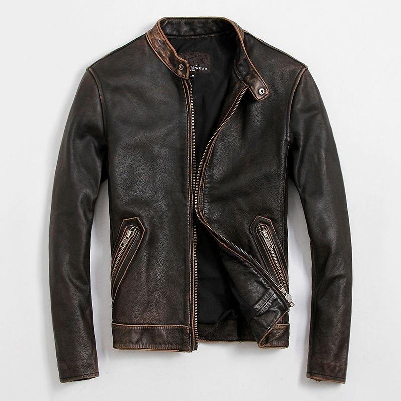 Free Shipping.EMS Top Brand 100% genuine leather jacket.plus size sportswear jackets,mens slim quality jacket vintage