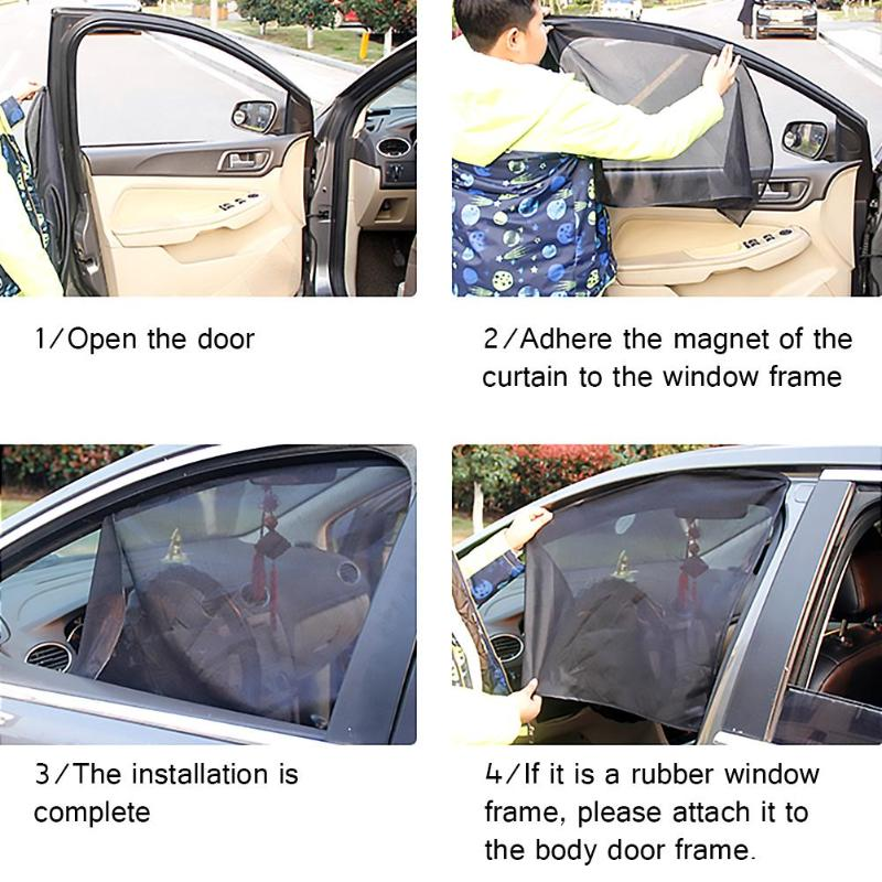 Summer Magnetic Car Sunshade Window Mesh Single Layer Thickening Encryption UV Protection Easy To Remove Magnetic Car Curtain