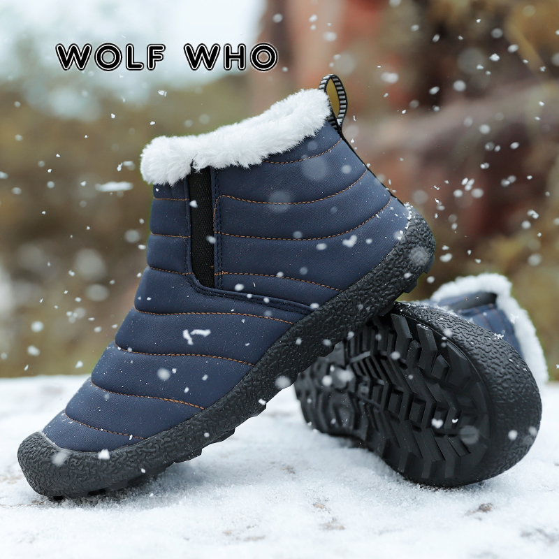 WOLF WHO New Plus Size Male Winter Shoes Men Waterproof Solid Color Snow Boots Plush Antiskid Bottom Super Warm Ski Boots X-188 image