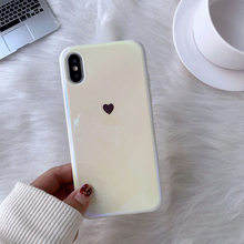 For iphone XS Max case Blue ray Laser Love Heart Soft silicon Mirror white for XR 6s 7 8 plus back cover