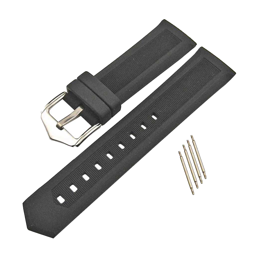 19mm 21mm 24mm Silicone Watch Strap Stainless Steel Buckle With Spring Bar Accessories Fit Sports Watch Strap