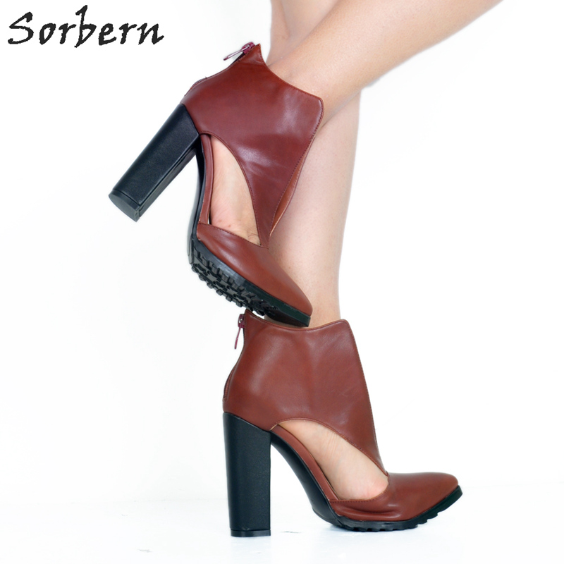 c77a4894812 Sorbern Brown Chunky Heels Lady Shoes Women Retro Style Think High Heels  Pointed Toe Heels Back Zipper Cut Out Side Ladies Shoes