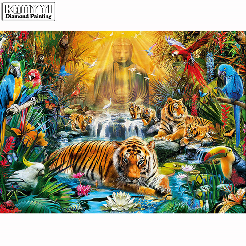 <font><b>5D</b></font>-Round-<font><b>Diamond</b></font>-<font><b>Painting</b></font>-Volledig-<font><b>Dieren</b></font>-Tiger-Buddha-Decor-Embroidery-100-Full-Cuadros-Punto-De-Cruz LK1 image
