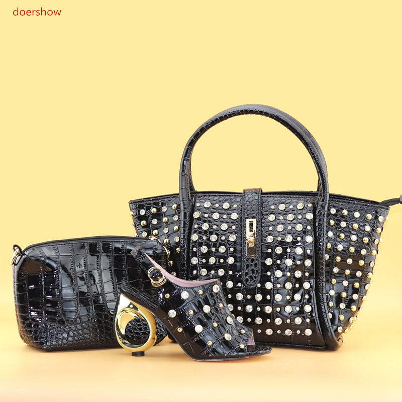 doershow  New Fashion African Shoes and Bag Set Italian Shoes with Matching Bags High Quality Women Shoe and Bag To Match PAN1-1 fashion italy design italian matching shoe and bag set african wedding shoe and bag sets women shoe and bag to match tmm1 41