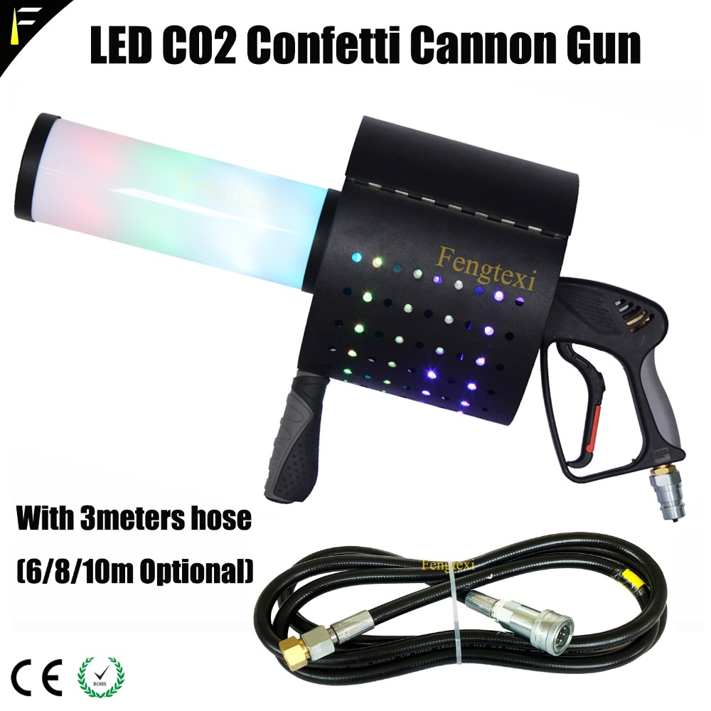 Portable LED Colorful RGB Co2 Jet Gun with Confetti Jet Cannon Shoot Effect Gun Hand-held Confetti Spray Device 3 meter Hose led co2 confetti dj gun colorful manual control led co2 cryo jet confetti cannon machine for disco party wedding