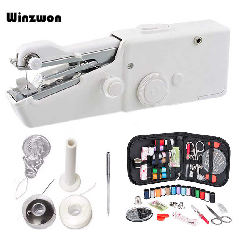 1Set Portable Handheld Sewing Machine Quick Stitch Sew Needlework Cordless Clothes Fabrics Mini Sewing Machine With Sewing Kits