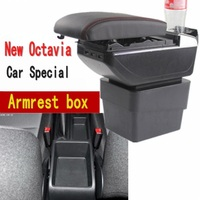 For Skoda New Octavia armrest box central Store content box with cup holder ashtray USB Octavia armrests box