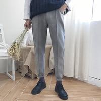 2017 Winter New Men's Fashion Hot Sale Faux Suede Casual Mid-Waist Slim Pants Black/gray Color High Quality Trousers M-2xl