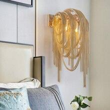 Lâmpada de parede italiana atlântida, corrente de luxo, lâmpada para parede espelhada, para banheiro e decoração