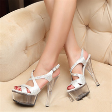 Euro Size34-44 Qitong PU Woman 20cm High Heels Platform Sandals Nightclub Woman High Heeled  Birthday Party Shoes for T Station