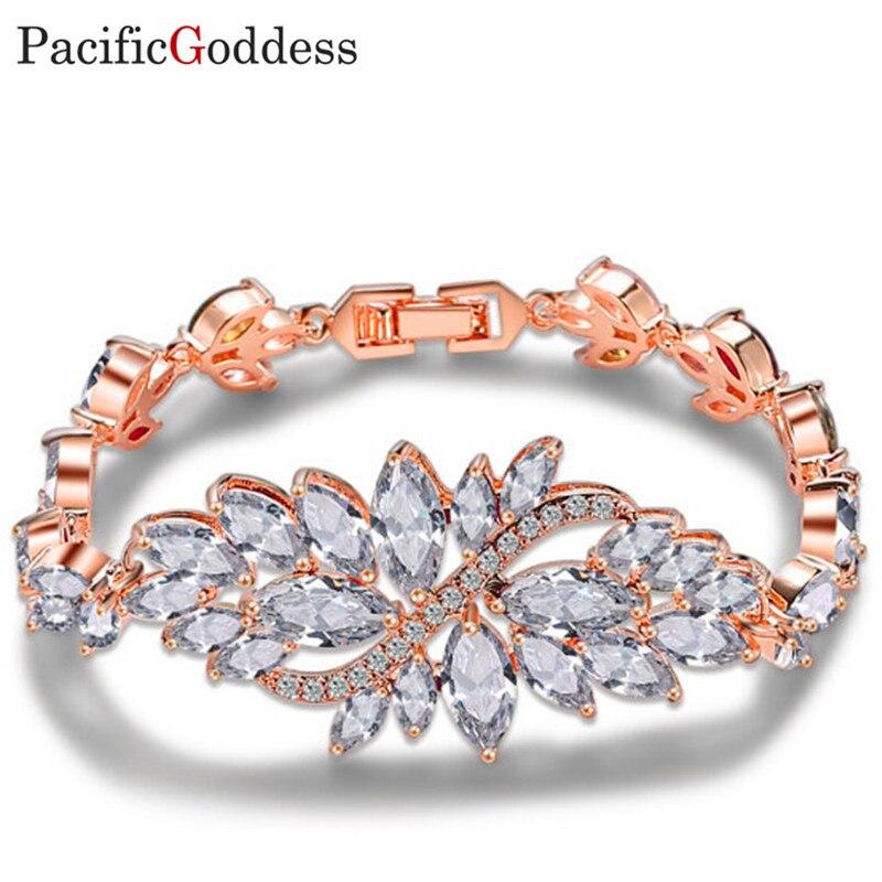 pacificgoddess bijou bracelets Luxury Chain Link Bracelet Shining AAA Cubic Zircon Crystal Jewelry fine bracelet колье bijou trésor