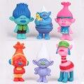 6 Unids/LotTrolls Película 8 cm Dreamworks Amapola Rama Biggie PVC Figura Muñeca de Juguete Figura de Colección de Muñecas Trolls Figuras juguetes