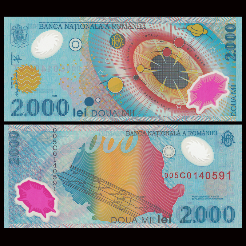 Romania 2000 Lei, 1999, P-111, Polymer, Collectibles, Gift, UNC, Uncirculated, Real Original Genuine Banknotes, Color