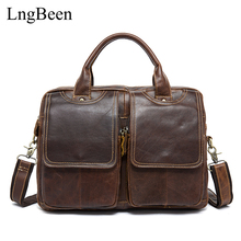 Lngbeen Genuine Leather Men Briefcase 14 inch Laptop Business Bag Cowhide Men's Messenger Bags Luxury Lawyer Handbags LB8002
