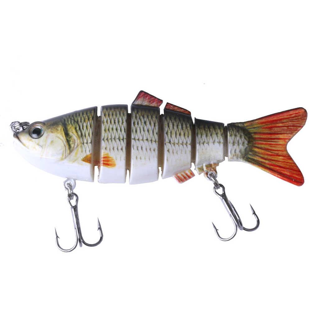 1 piezas de señuelo de pesca 10 cm 30g ojos 6 segmentos realista pesca duro señuelo Crankbait con 2 ganchos cebos aparejos de Pesca Cebo
