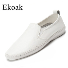 Ekoak Genuine Leather Size 35-43 New 2017 Classic Women Casual Shoes Spring Autumn Women Flats Fashion Round Toe Shoes Woman