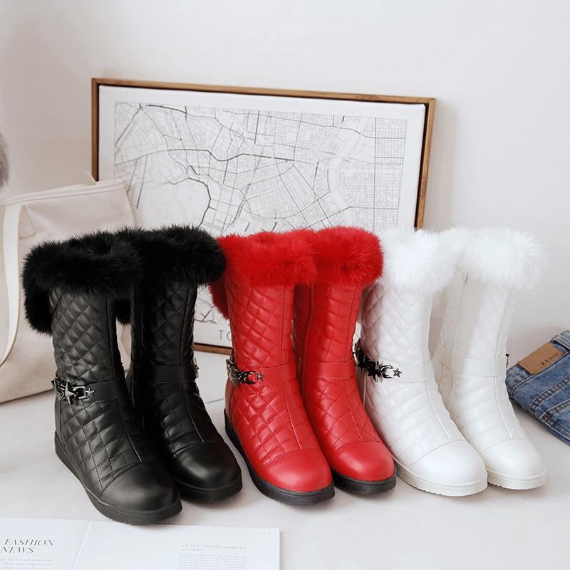 Botas Mediados Moda Ryvba Redonda 2018 Negro Punta Mujeres rojo Cálido Invierno blanco Zapatos Mujer Plana Ternero De Negro Nieve 8Axtq5px