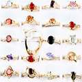 Wholesale Mix Lots 50pcs Fashion Crystal Rings For Women Mixed Pattern Gold Silver Lucite CZ Rings Party Jewelry Girls Gift
