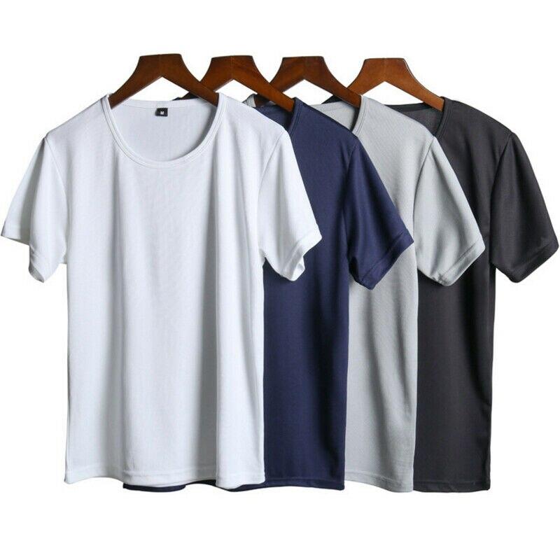 Новый стиль мужские футболки для бега для спортзала Водонепроницаемые Фитнес Бодибилдинг однотонные толстовки базовый с коротким рукавом летняя мода Хит 2019|Беговые футболки|   | АлиЭкспресс