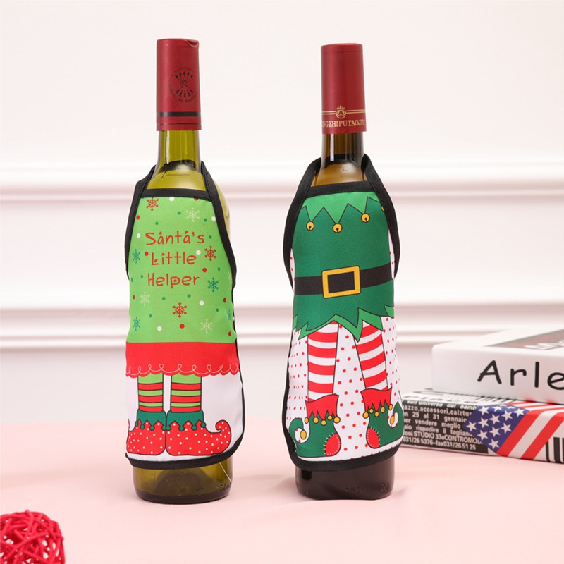Christmas Santa Wine Bottle Apron Cover Wrap Xmas Dinner Party Table Decoration Gift Holders in Stockings Gift Holders from Home Garden