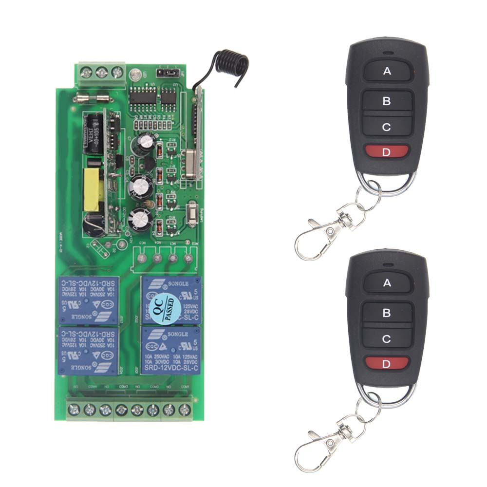 AC 85V-265V 110V 220V 230V 4 Channel 4CH RF Wireless Remote Control Switch System Receiver + 2X Transmitters, 315 433.92 MHZ ac 85v 250v 1ch rf wireless remote control switch system 1 transmitters