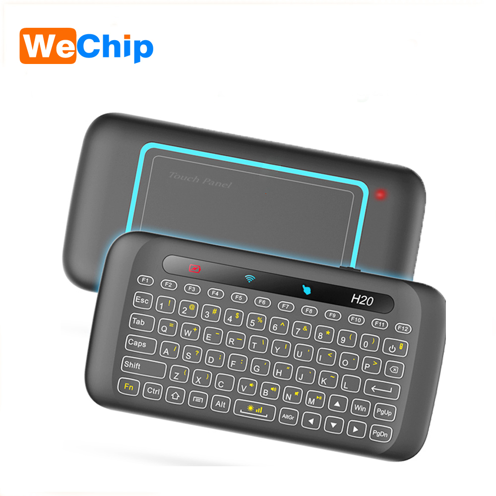 2.4GHz Wireless Keyboard H20 Colorful Backlight Remote control IR touchpad Learning Function Air mouse For tv box Smart TV