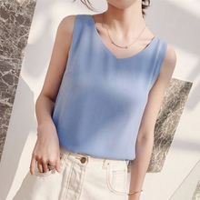 Women Tank Top Woman Chiffon Halter Top Plus Size Summer Sexy V Neck Sleeveless Tops Vest Female 2019 Korean OL Shirt Tops Women plus size draped front halter neck tank top
