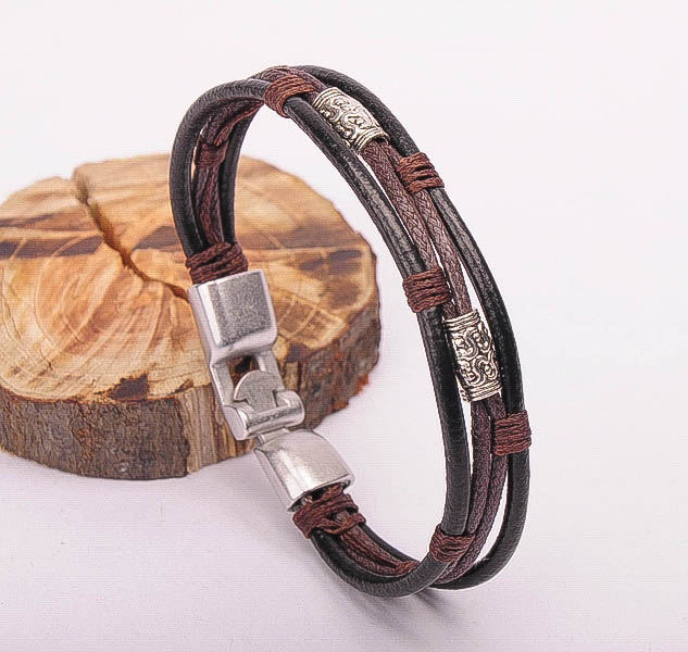 G485 Brown Surfer Style Cool Hemp Braided Leather Bracelet Wristband Cuff Mens New