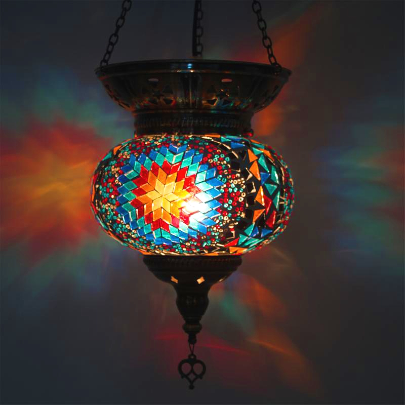 turkish moroccan pendant light handmade mosaic stained glass Corridor Stairwell cafe restaurant hanging light lamp|Pendant Lights| |  - title=