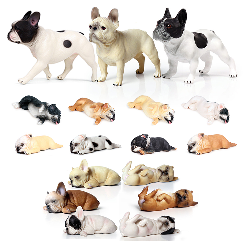 Mini 16 Styles Action&Toys Figure Family Animal French Bulldog Pet Dog Model Collectible Doll Figure For Kid Children's Gift