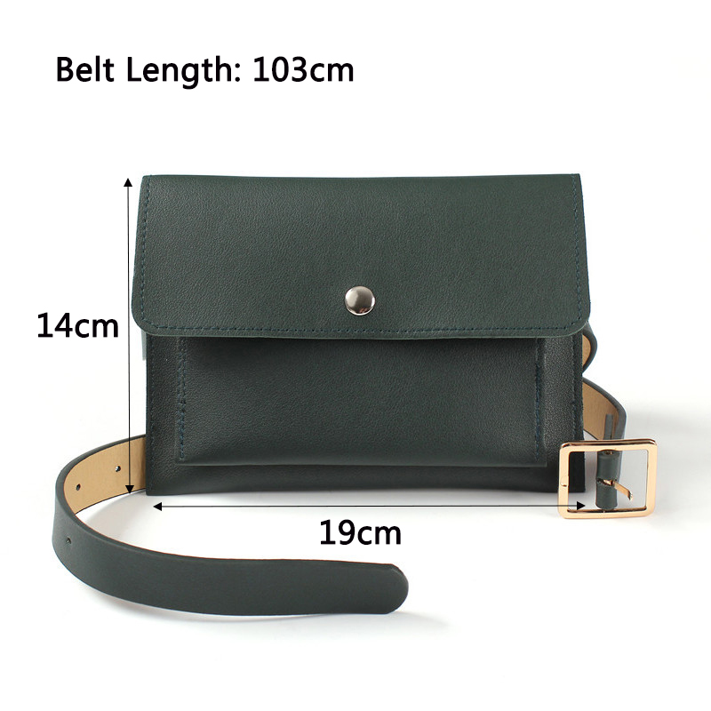 Jiessie Angela Fashion Women Bag Leather Waist Pack Female Belt Bag Fanny Pack Casual Lady Waist Packs Phone Pouch Bags Bolos in Waist Packs from Luggage Bags