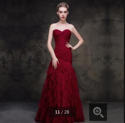 2015 мода темное вино русалка плиссированные зимний вечер раффлед формальное длиной до пола элегантный вечернее платье
