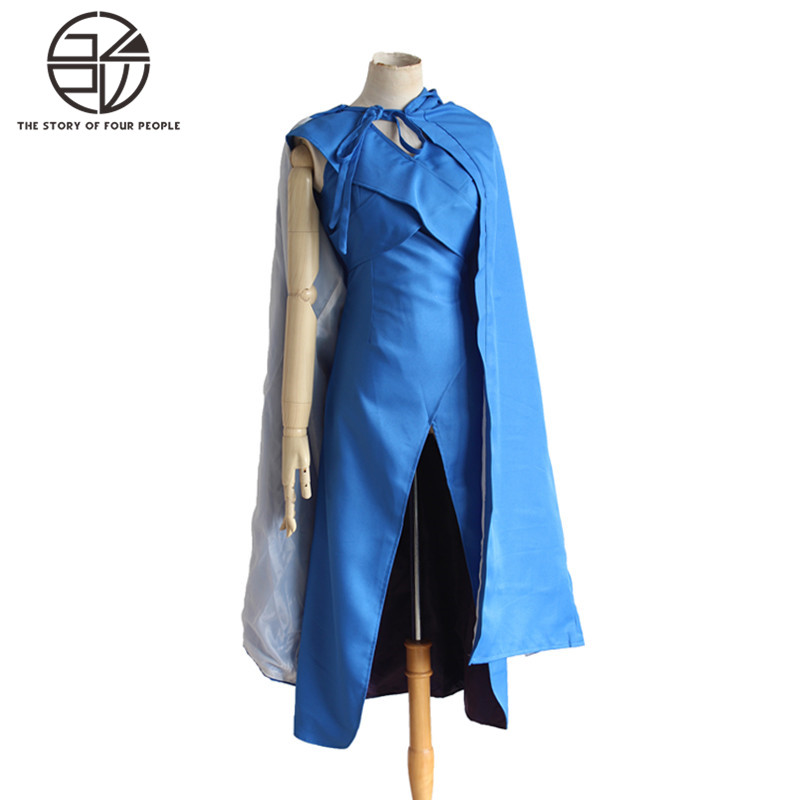 Power Game Cosplay Costume Ice and Fire Song Blue Dress Cloak Halloween Costume S-XL