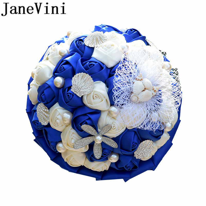 JaneVini Graceful Royal Blue Wedding Flowers Bridal Bouquet Bling Rhinestone Satin Rose Artificial Bride Brooch Bouquet